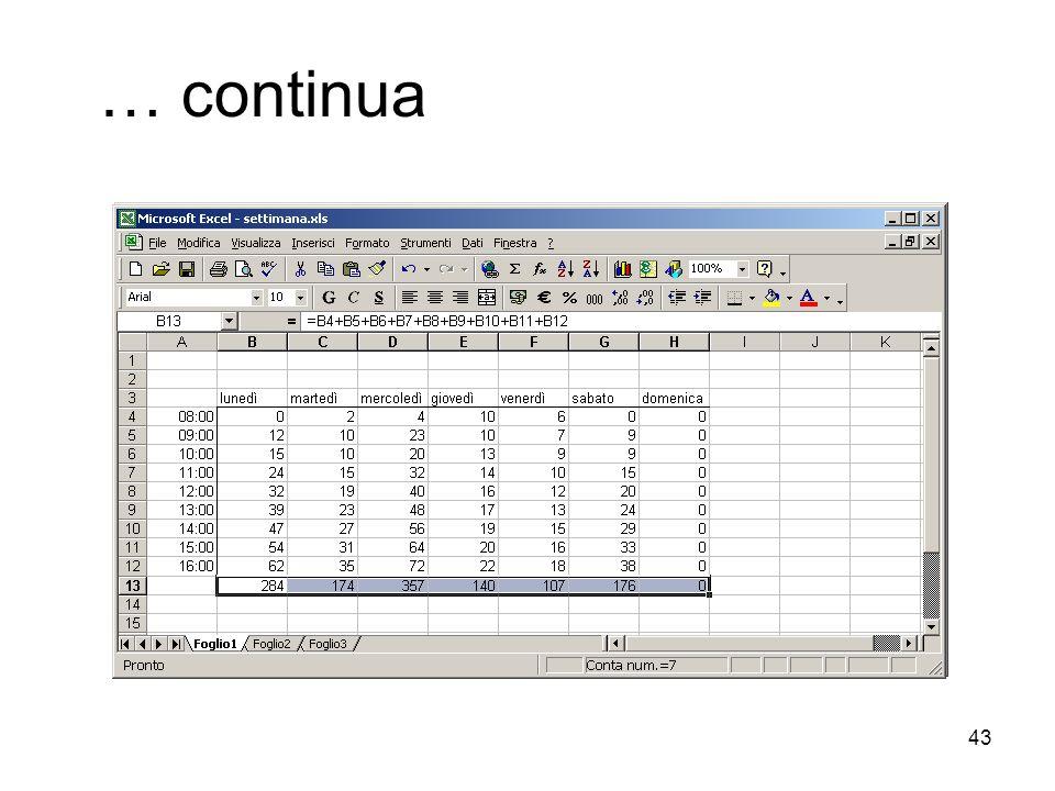 43 … continua Esiste un modo di copiare celle (e quindi formule) molto utile per copiare formula su celle adiacenti. Selezionare la cella contenente l