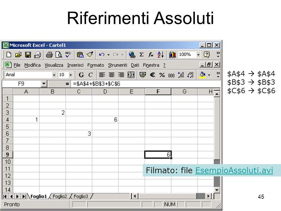 45 Riferimenti Assoluti $A$4 $B$3 $C$6 Filmato: file EsempioAssoluti.aviEsempioAssoluti.avi