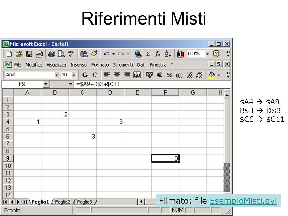 47 Riferimenti Misti F-D=2 9-4=5 $A4 $A9 B$3 D$3 $C6 $C11 Filmato: file EsempioMisti.aviEsempioMisti.avi