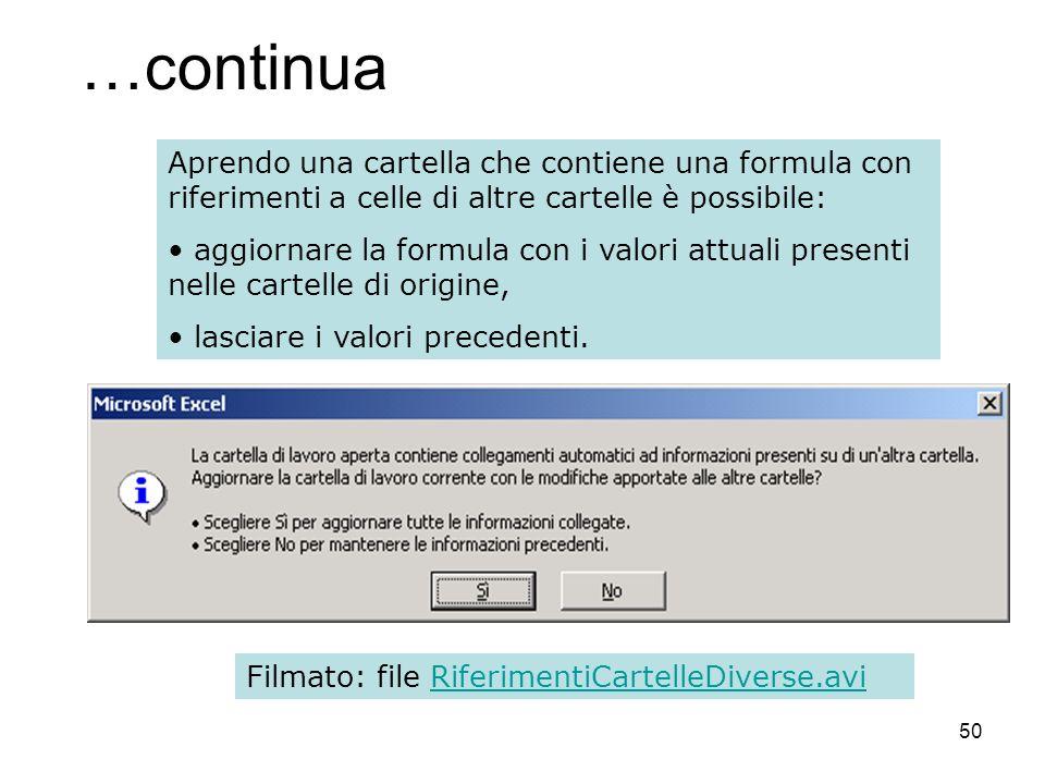 50 …continua Aprendo una cartella che contiene una formula con riferimenti a celle di altre cartelle è possibile: aggiornare la formula con i valori a