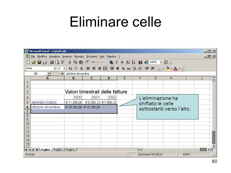 60 Eliminare celle Selezionare le celle. Modifica - Elimina. Leliminazione ha shiftato le celle sottostanti verso lalto.