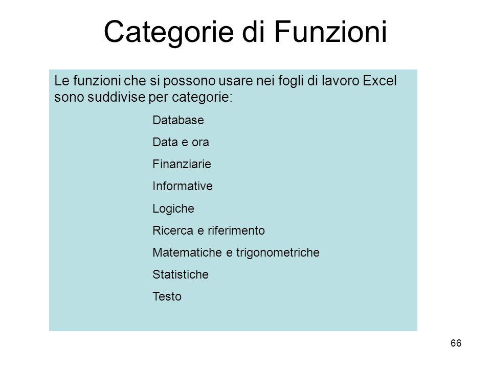 66 Categorie di Funzioni Le funzioni che si possono usare nei fogli di lavoro Excel sono suddivise per categorie: Database Data e ora Finanziarie Informative Logiche Ricerca e riferimento Matematiche e trigonometriche Statistiche Testo