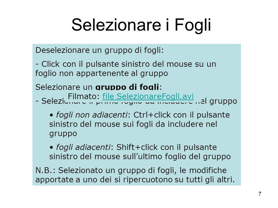 38 Esempio Selezione: selezionare la cella che conterrà il risultato della formula.