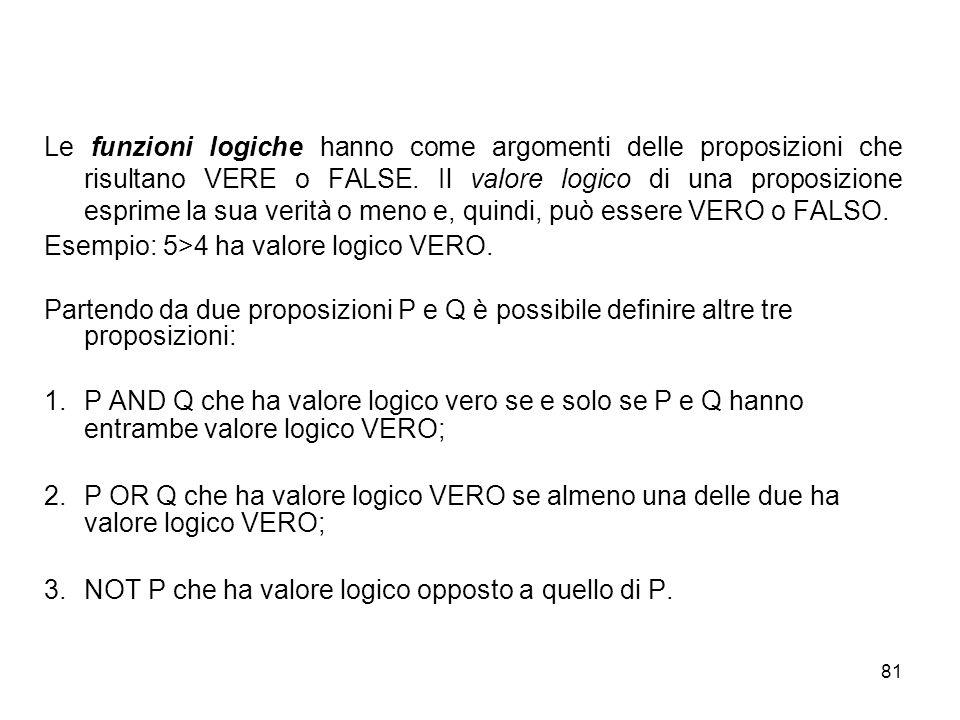 81 Le funzioni logiche hanno come argomenti delle proposizioni che risultano VERE o FALSE.