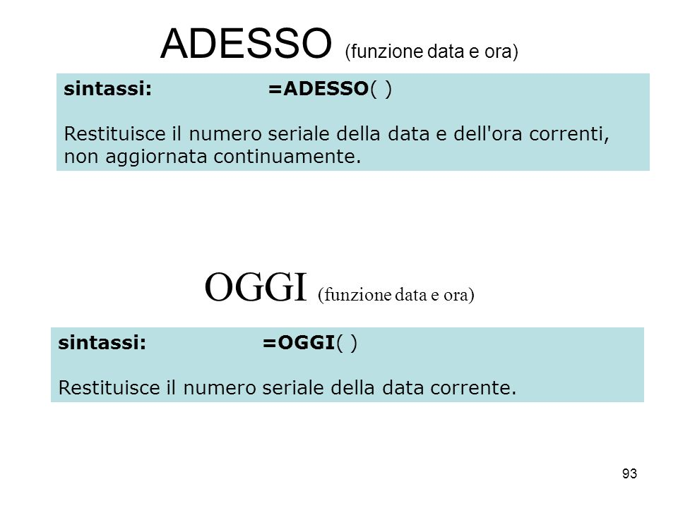 93 ADESSO (funzione data e ora) OGGI (funzione data e ora) sintassi:=ADESSO( ) Restituisce il numero seriale della data e dell'ora correnti, non aggio