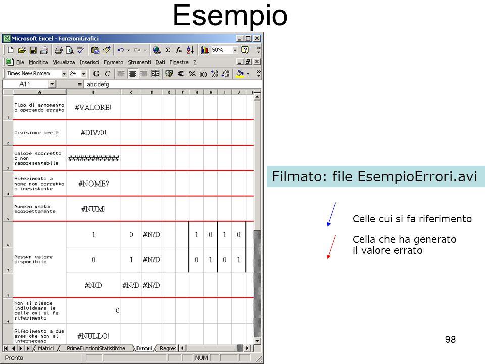 98 Esempio Filmato: file EsempioErrori.avi Celle cui si fa riferimento Cella che ha generato il valore errato