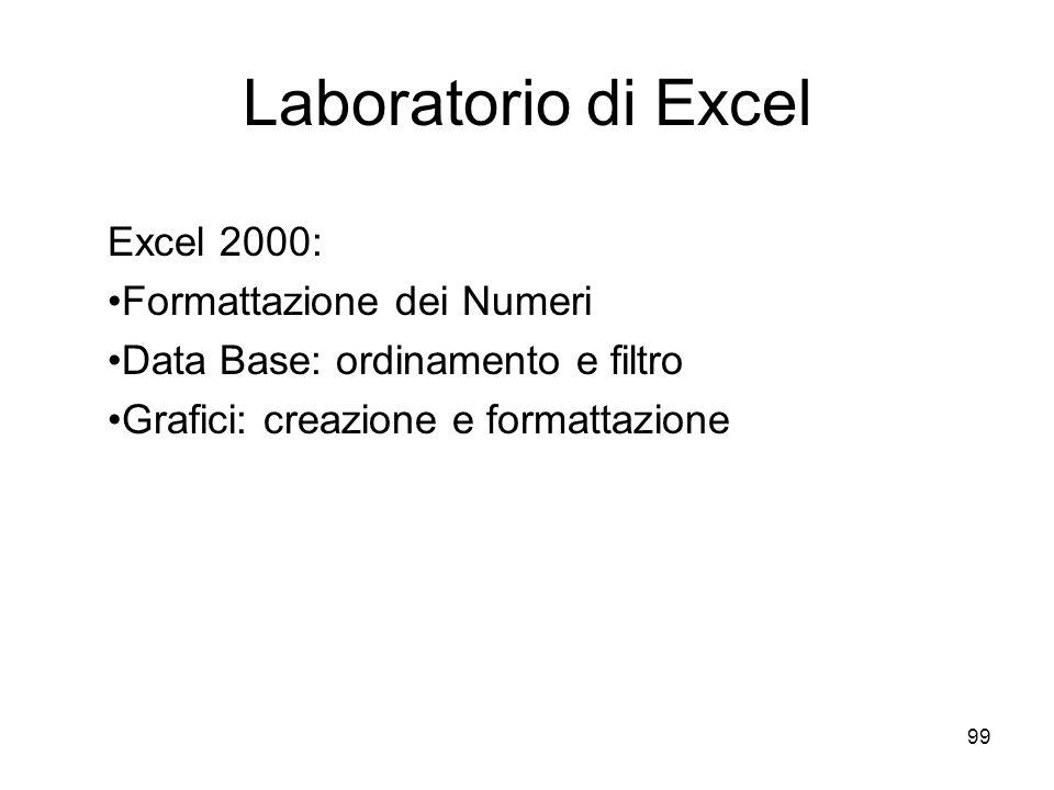 99 Laboratorio di Excel Excel 2000: Formattazione dei Numeri Data Base: ordinamento e filtro Grafici: creazione e formattazione