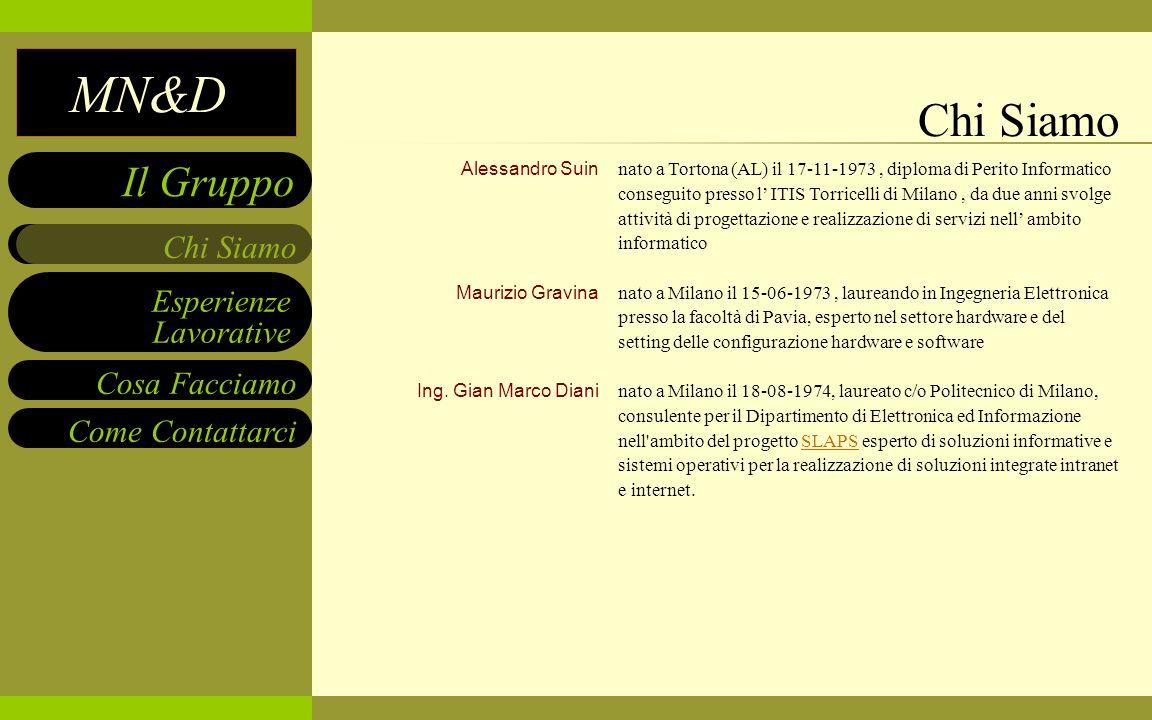 MN&D Esperienze Lavorative Cosa Facciamo Come Contattarci Chi Siamo Il Gruppo Alessandro Suin Maurizio Gravina Ing. Gian Marco Diani nato a Tortona (A