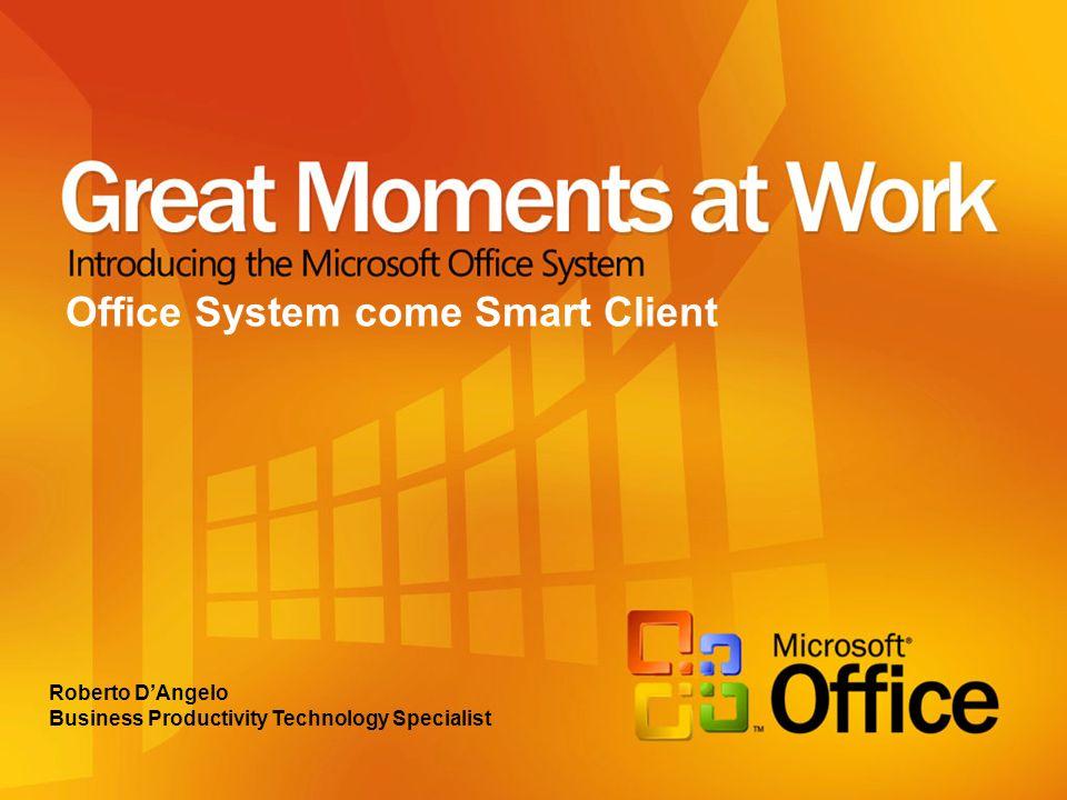 Office System = Smart Client Collaborazione quotidiana Aree di lavoro condivise (WorkSpace) Governate tramite il portale aziendale con sistema di provisioning con indicizzazione automatica dei contenuti Collegato al Back-End aziendale anche con Single Sing-On