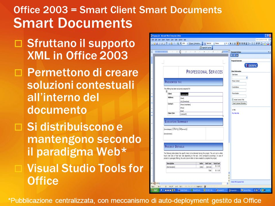 Office 2003 = Smart Client Smart Documents Smart Documents Sfruttano il supporto XML in Office 2003 Permettono di creare soluzioni contestuali allinterno del documento Si distribuiscono e mantengono secondo il paradigma Web* Visual Studio Tools for Office *Pubblicazione centralizzata, con meccanismo di auto-deployment gestito da Office