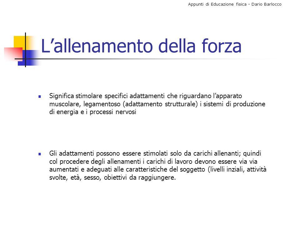 Appunti di Educazione fisica - Dario Barlocco Quali i parametri da tenere i considerazione.