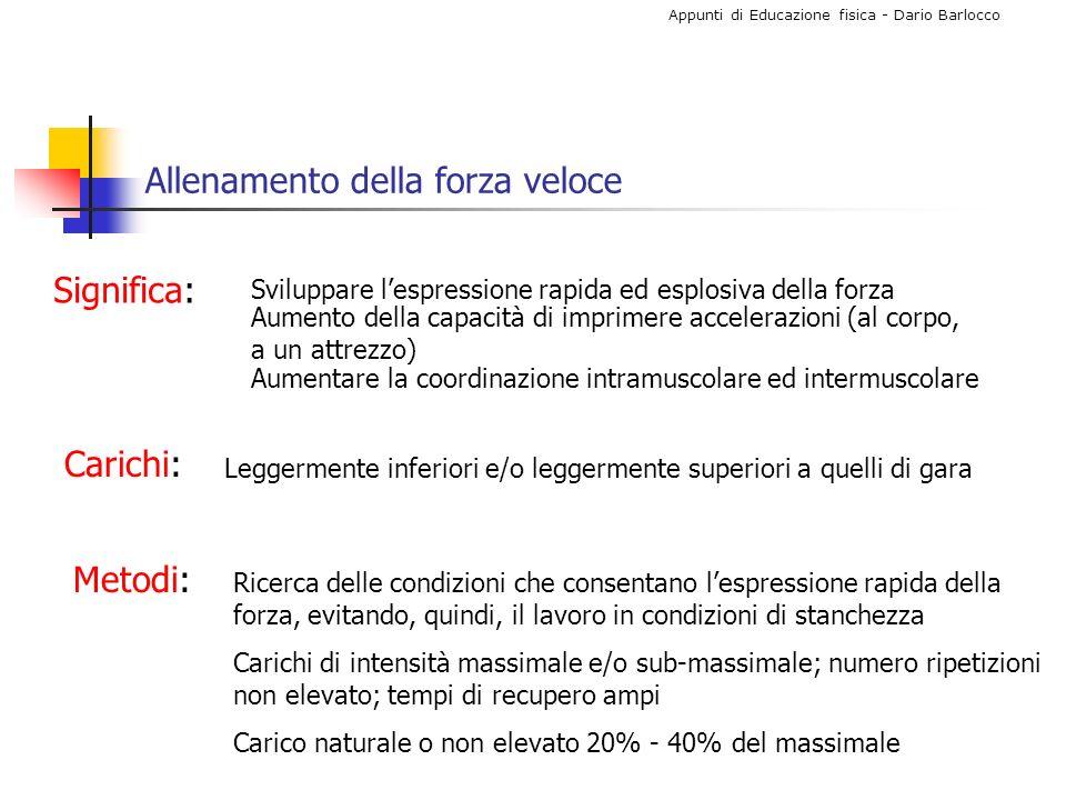 Appunti di Educazione fisica - Dario Barlocco Allenamento della forza veloce Significa: Sviluppare lespressione rapida ed esplosiva della forza Aument