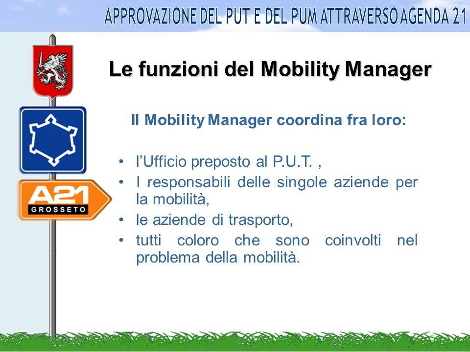Le funzioni del Mobility Manager Il Mobility Manager coordina fra loro: lUfficio preposto al P.U.T., I responsabili delle singole aziende per la mobilità, le aziende di trasporto, tutti coloro che sono coinvolti nel problema della mobilità.