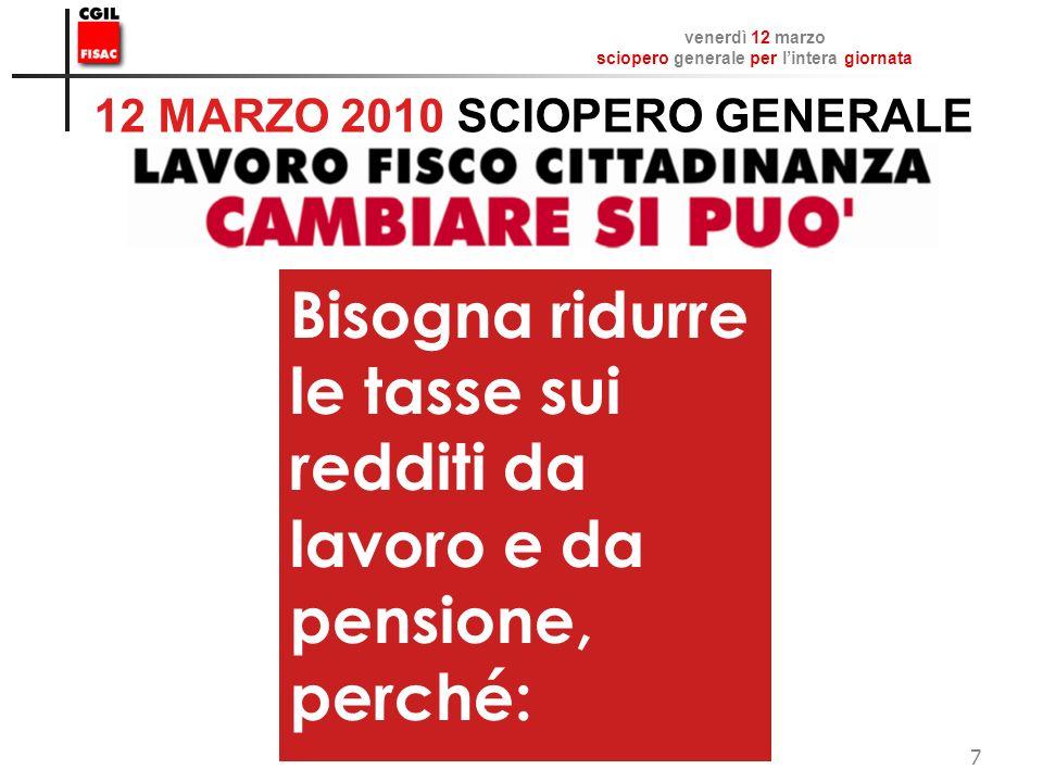venerdì 12 marzo sciopero generale per lintera giornata FISAC CGIL 7 12 MARZO 2010 SCIOPERO GENERALE Bisogna ridurre le tasse sui redditi da lavoro e da pensione, perché: