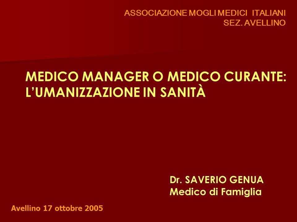 ASSOCIAZIONE MOGLI MEDICI ITALIANI SEZ. AVELLINO MEDICO MANAGER O MEDICO CURANTE: LUMANIZZAZIONE IN SANITÀ Dr. SAVERIO GENUA Medico di Famiglia Avelli