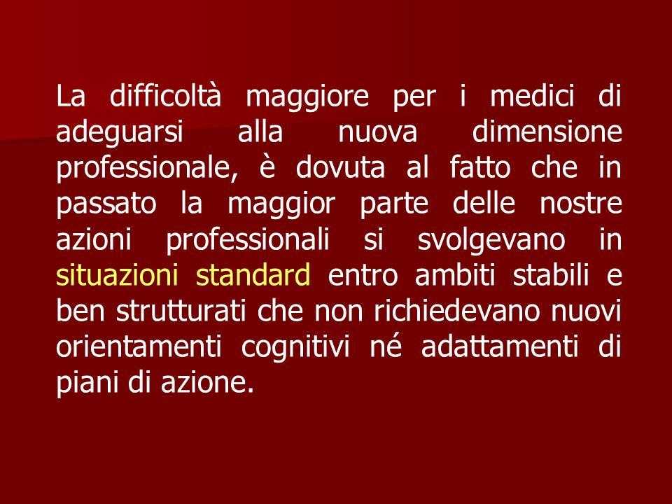 La difficoltà maggiore per i medici di adeguarsi alla nuova dimensione professionale, è dovuta al fatto che in passato la maggior parte delle nostre a