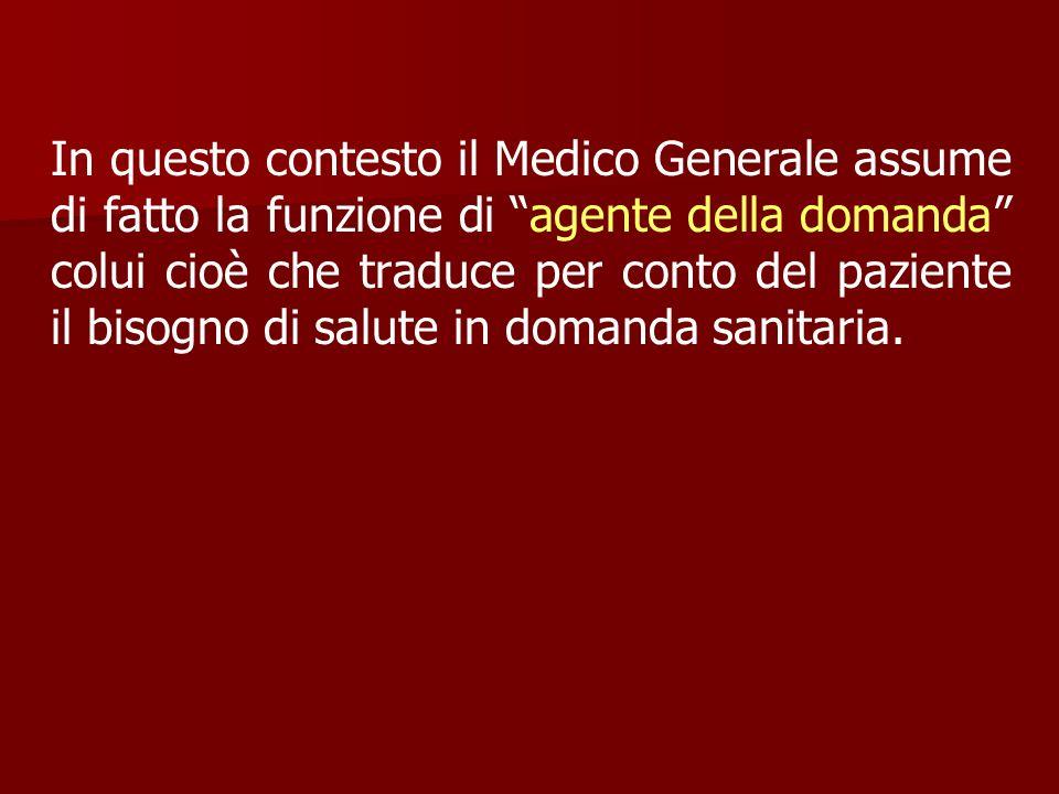 In questo contesto il Medico Generale assume di fatto la funzione di agente della domanda colui cioè che traduce per conto del paziente il bisogno di