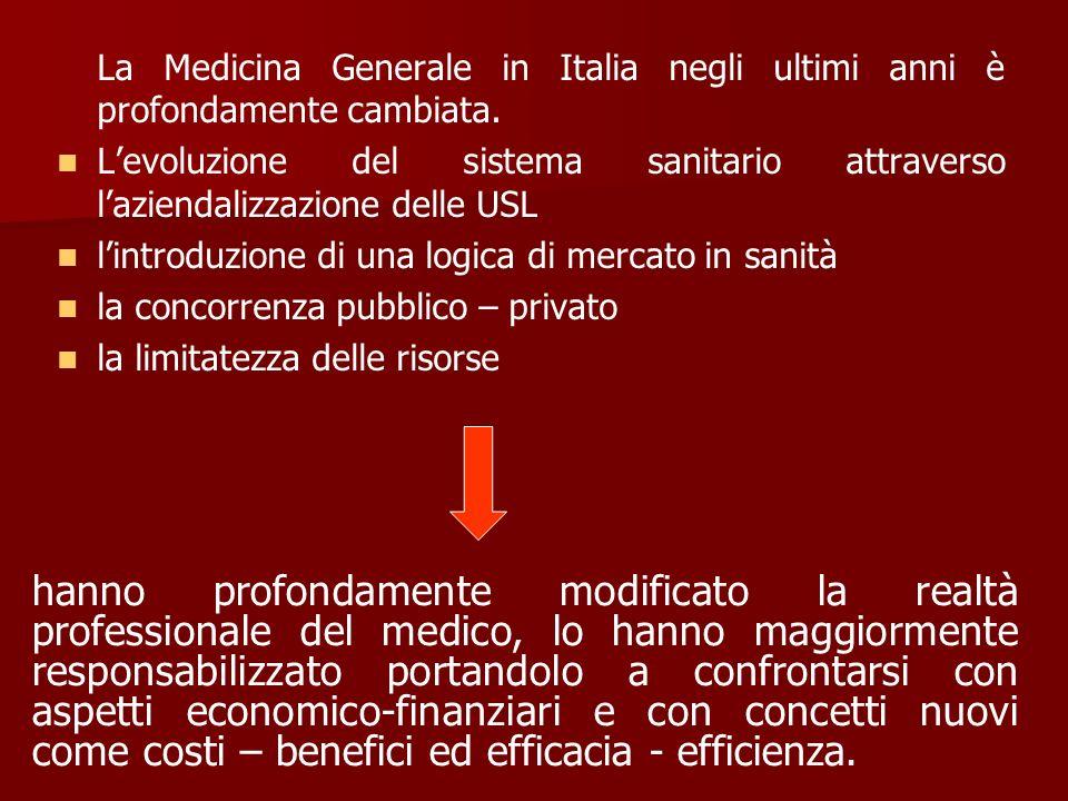 La Medicina Generale in Italia negli ultimi anni è profondamente cambiata. Levoluzione del sistema sanitario attraverso laziendalizzazione delle USL l