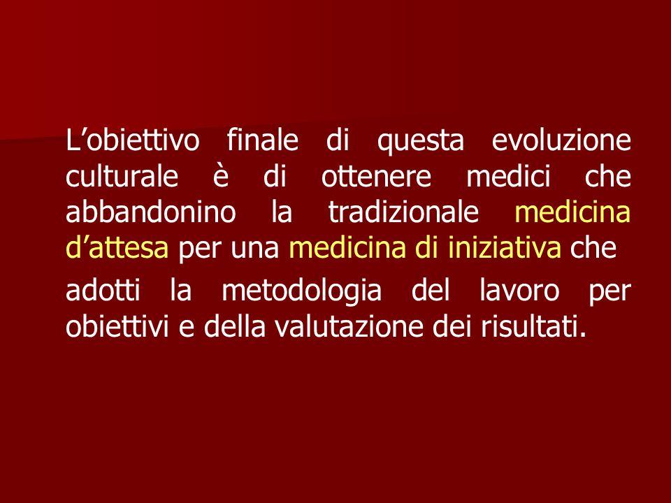 Lobiettivo finale di questa evoluzione culturale è di ottenere medici che abbandonino la tradizionale medicina dattesa per una medicina di iniziativa