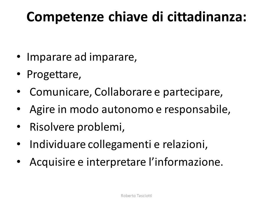 Competenze chiave di cittadinanza: Imparare ad imparare, Progettare, Comunicare, Collaborare e partecipare, Agire in modo autonomo e responsabile, Ris