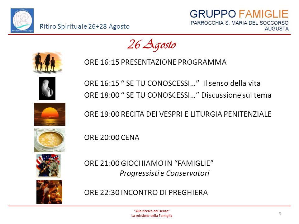 Alla ricerca del senso La missione della Famiglia 10 Ritiro Spirituale 26÷28 Agosto 27 Agosto - Mattina