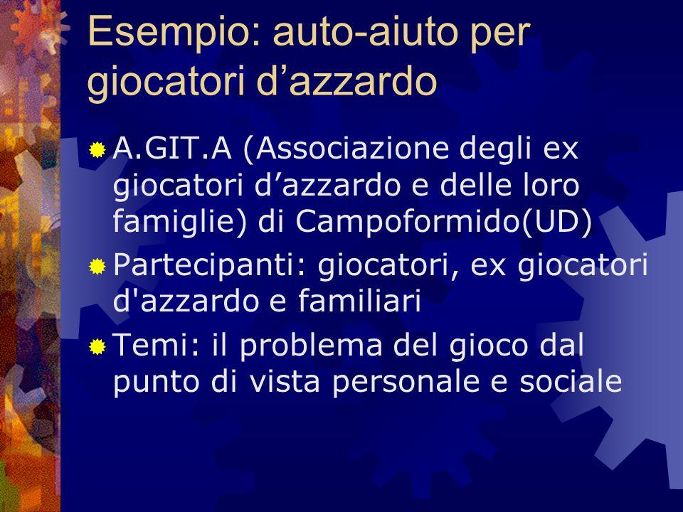 Esempio: auto-aiuto per giocatori dazzardo A.GIT.A (Associazione degli ex giocatori dazzardo e delle loro famiglie) di Campoformido(UD) Partecipanti: