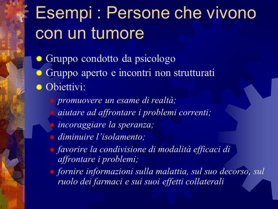 Esempi : Persone che vivono con un tumore Gruppo condotto da psicologo Gruppo aperto e incontri non strutturati Obiettivi: promuovere un esame di real