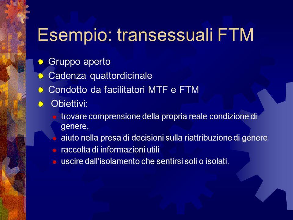 Esempio: transessuali FTM Gruppo aperto Cadenza quattordicinale Condotto da facilitatori MTF e FTM Obiettivi: trovare comprensione della propria reale