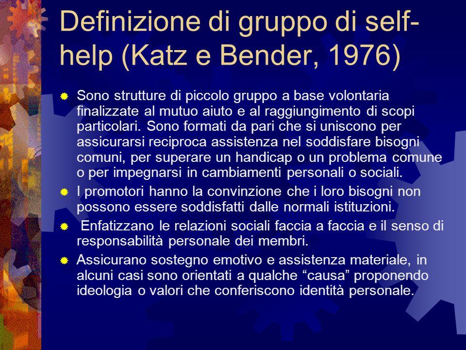 Definizione di gruppo di self- help (Katz e Bender, 1976) Sono strutture di piccolo gruppo a base volontaria finalizzate al mutuo aiuto e al raggiungi