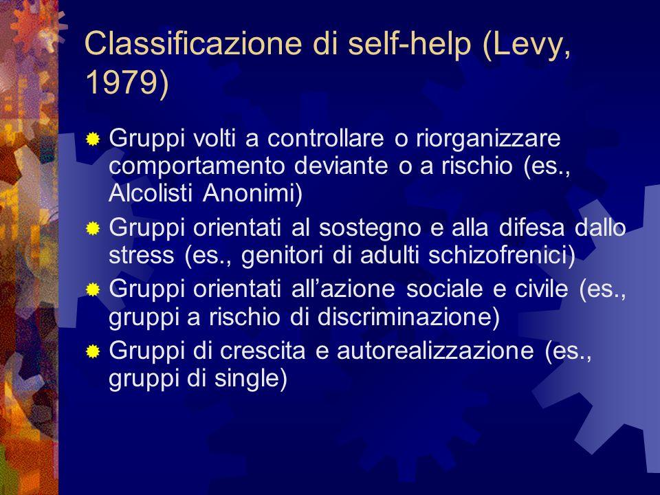 Classificazione di self-help (Levy, 1979) Gruppi volti a controllare o riorganizzare comportamento deviante o a rischio (es., Alcolisti Anonimi) Grupp