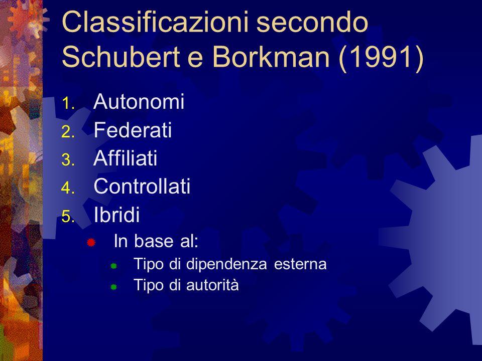Classificazioni secondo Schubert e Borkman (1991) 1. Autonomi 2. Federati 3. Affiliati 4. Controllati 5. Ibridi In base al: Tipo di dipendenza esterna