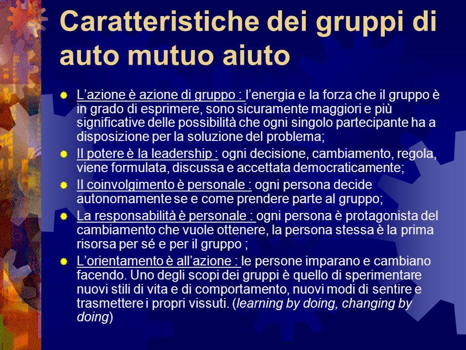 Caratteristiche dei gruppi di auto mutuo aiuto Lazione è azione di gruppo : lenergia e la forza che il gruppo è in grado di esprimere, sono sicurament