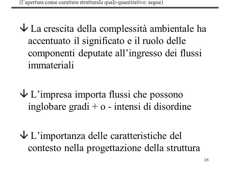 16 â La crescita della complessità ambientale ha accentuato il significato e il ruolo delle componenti deputate allingresso dei flussi immateriali â L