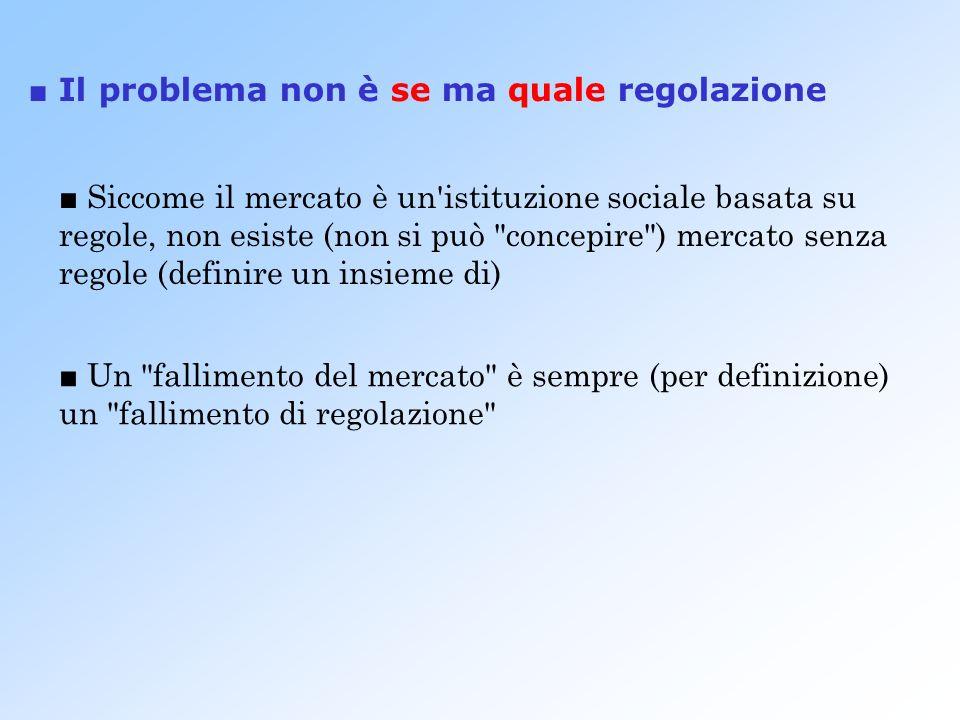 Siccome il mercato è un istituzione sociale basata su regole, non esiste (non si può concepire ) mercato senza regole (definire un insieme di) Un fallimento del mercato è sempre (per definizione) un fallimento di regolazione Il problema non è se ma quale regolazione