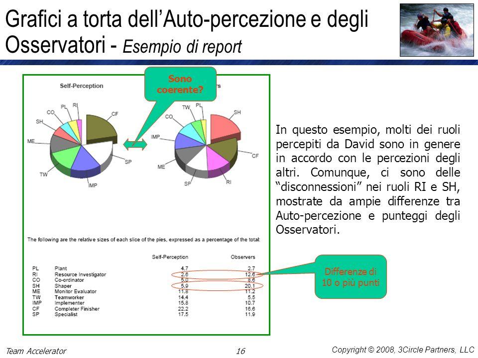 Copyright © 2008, 3Circle Partners, LLC Grafici a torta dellAuto-percezione e degli Osservatori - Esempio di report In questo esempio, molti dei ruoli