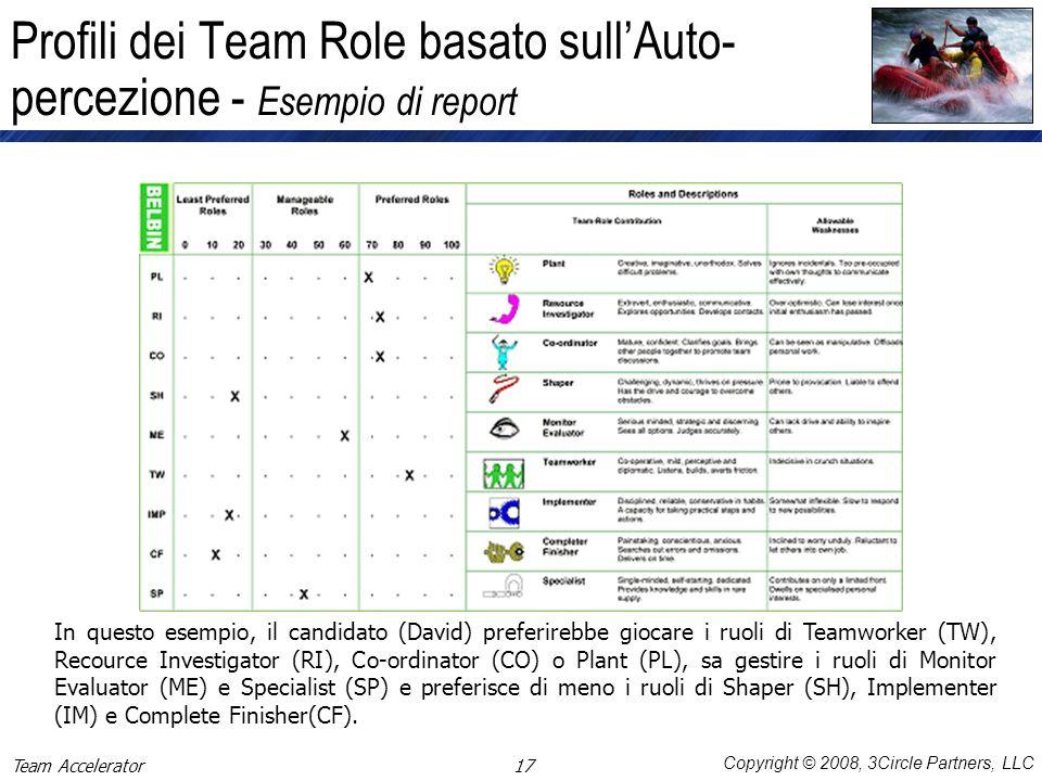 Copyright © 2008, 3Circle Partners, LLC Profili dei Team Role basato sullAuto- percezione - Esempio di report In questo esempio, il candidato (David)