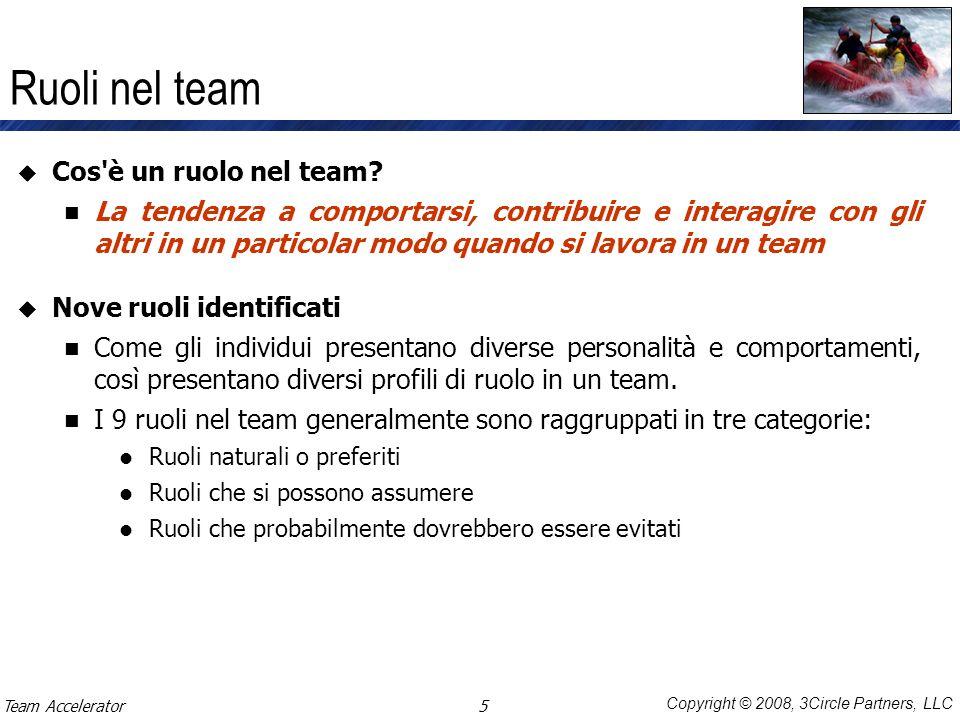 Copyright © 2008, 3Circle Partners, LLC Ruoli nel team Cos'è un ruolo nel team? La tendenza a comportarsi, contribuire e interagire con gli altri in u