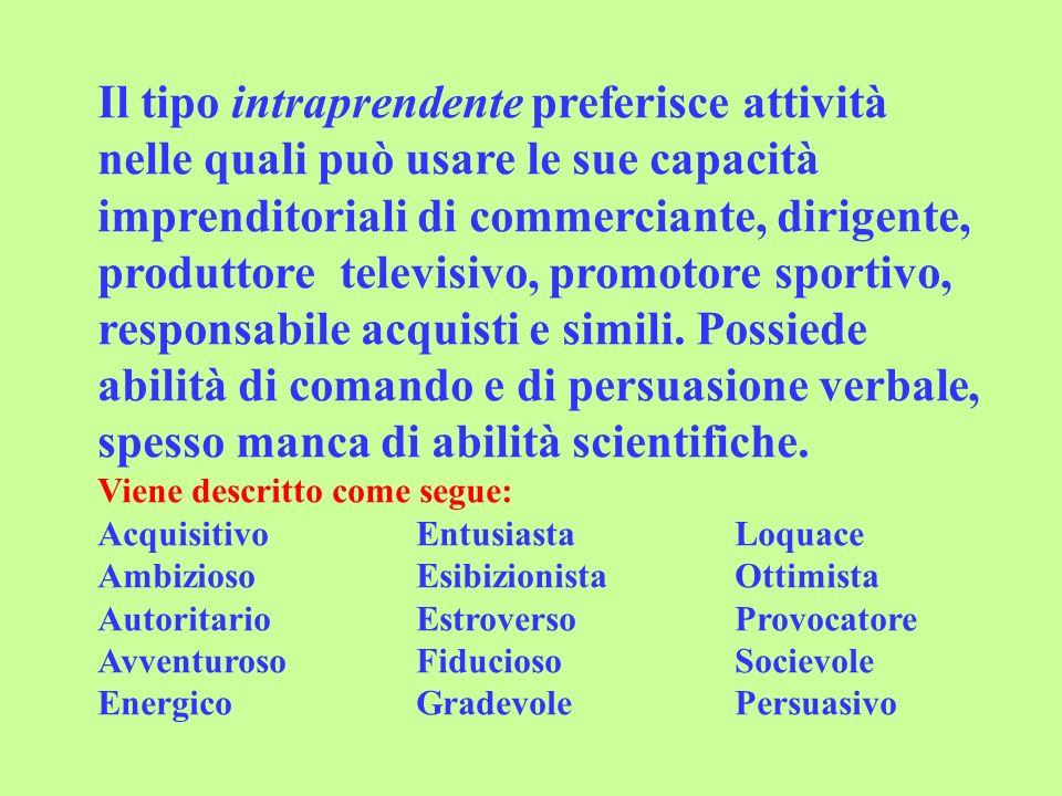 Il tipo intraprendente preferisce attività nelle quali può usare le sue capacità imprenditoriali di commerciante, dirigente, produttore televisivo, promotore sportivo, responsabile acquisti e simili.