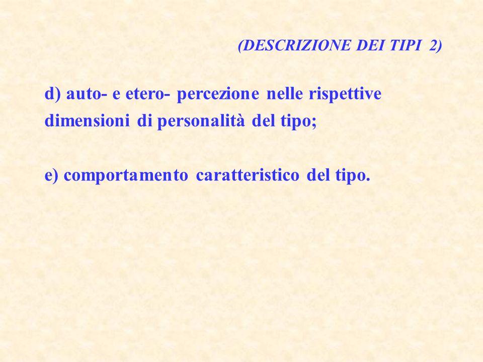 (DESCRIZIONE DEI TIPI 2) d) auto- e etero- percezione nelle rispettive dimensioni di personalità del tipo; e) comportamento caratteristico del tipo.