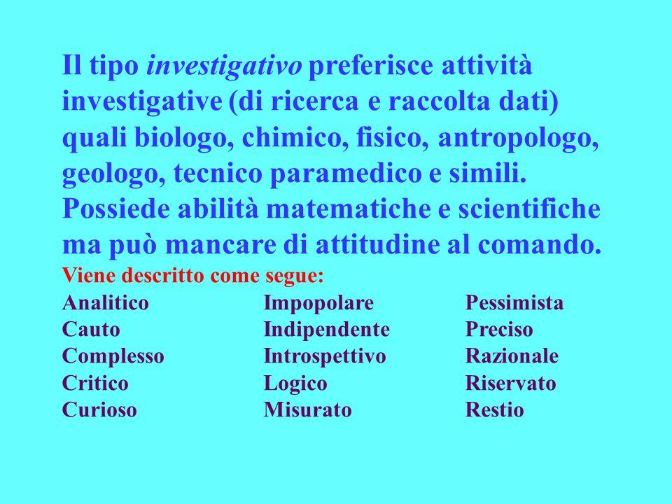 Il tipo investigativo preferisce attività investigative (di ricerca e raccolta dati) quali biologo, chimico, fisico, antropologo, geologo, tecnico paramedico e simili.