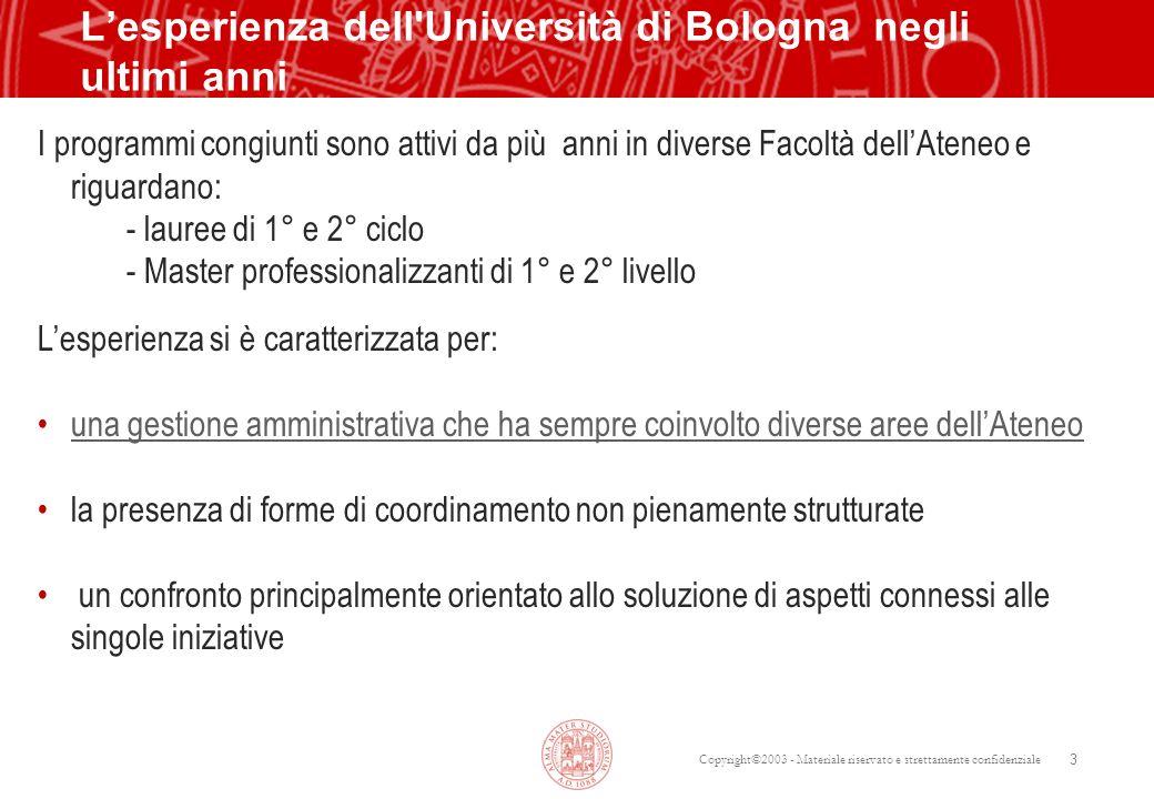 Copyright©2003 - Materiale riservato e strettamente confidenziale 3 Lesperienza dell'Università di Bologna negli ultimi anni I programmi congiunti son
