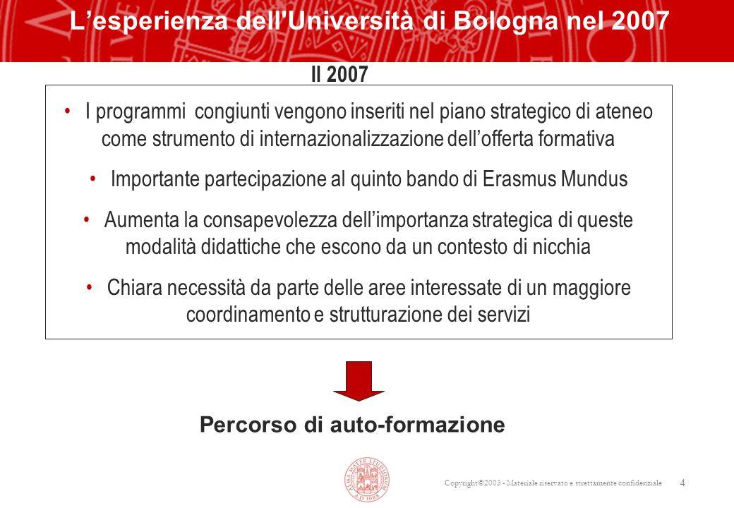 Copyright©2003 - Materiale riservato e strettamente confidenziale 4 Lesperienza dell'Università di Bologna nel 2007 Il 2007 Percorso di auto-formazion