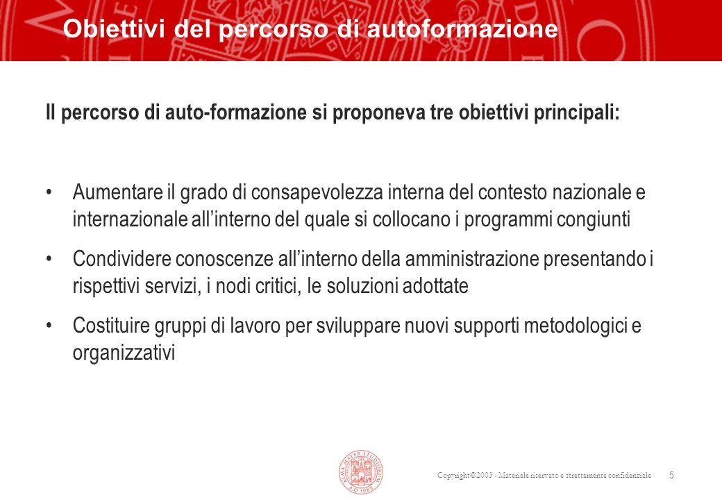 Copyright©2003 - Materiale riservato e strettamente confidenziale 5 Obiettivi del percorso di autoformazione Il percorso di auto-formazione si propone