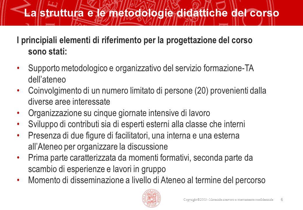 Copyright©2003 - Materiale riservato e strettamente confidenziale 6 La struttura e le metodologie didattiche del corso I principiali elementi di rifer
