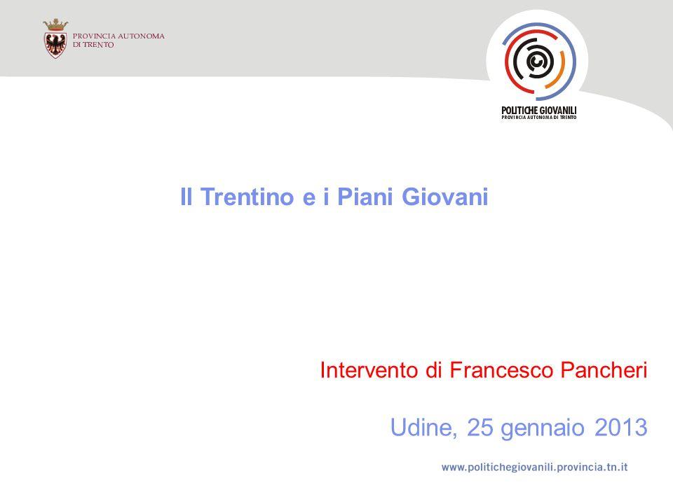 Il Trentino e i Piani Giovani Intervento di Francesco Pancheri Udine, 25 gennaio 2013