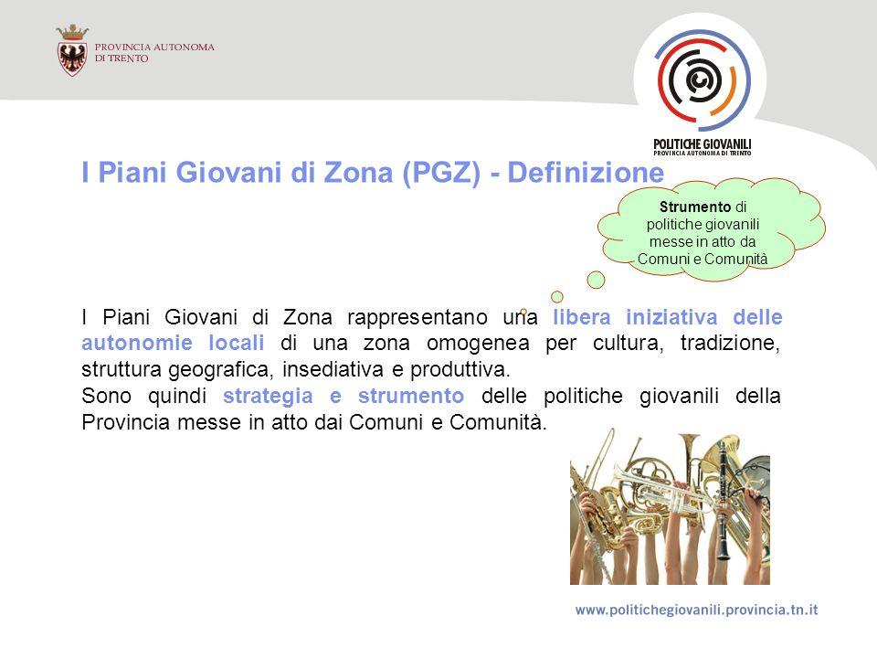 I Piani Giovani di Zona (PGZ) - Definizione I Piani Giovani di Zona rappresentano una libera iniziativa delle autonomie locali di una zona omogenea per cultura, tradizione, struttura geografica, insediativa e produttiva.