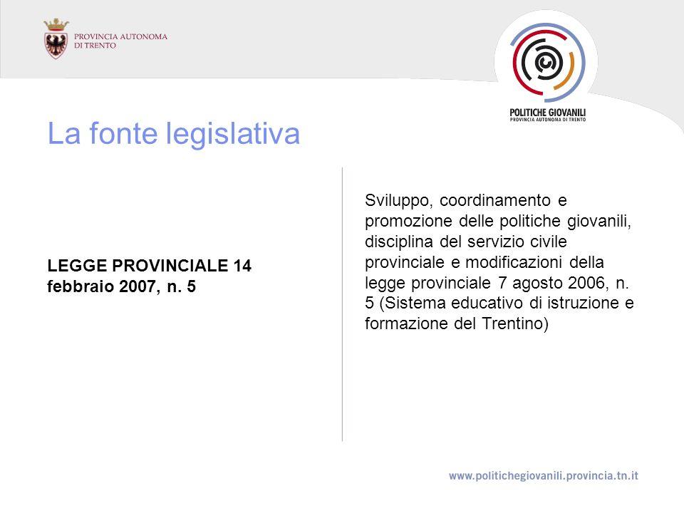 La fonte legislativa LEGGE PROVINCIALE 14 febbraio 2007, n.