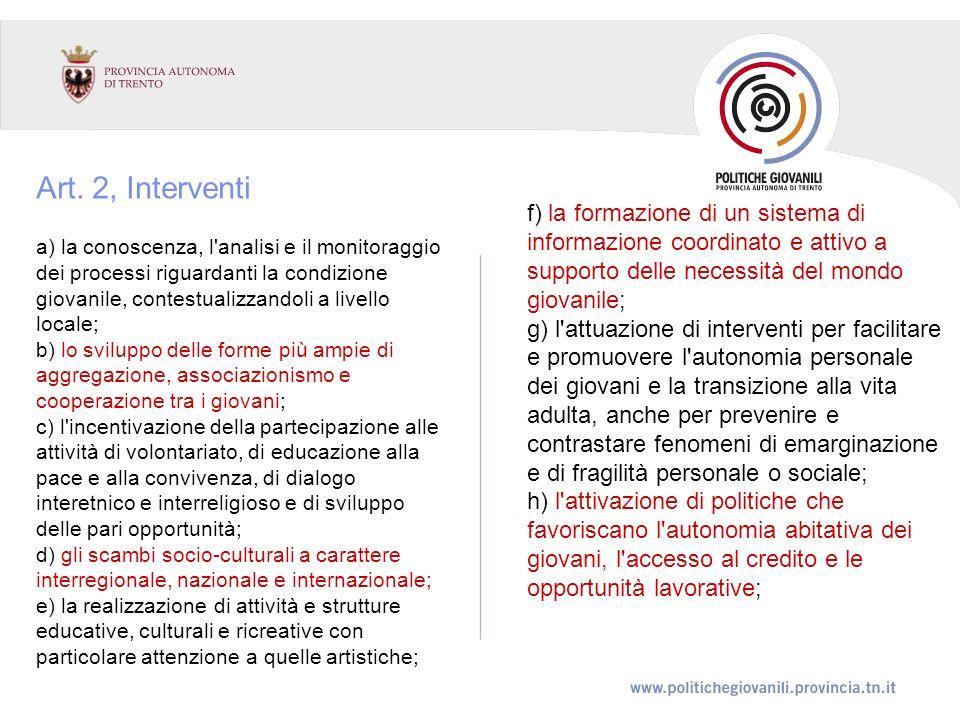 Art. 2, Interventi a) la conoscenza, l'analisi e il monitoraggio dei processi riguardanti la condizione giovanile, contestualizzandoli a livello local