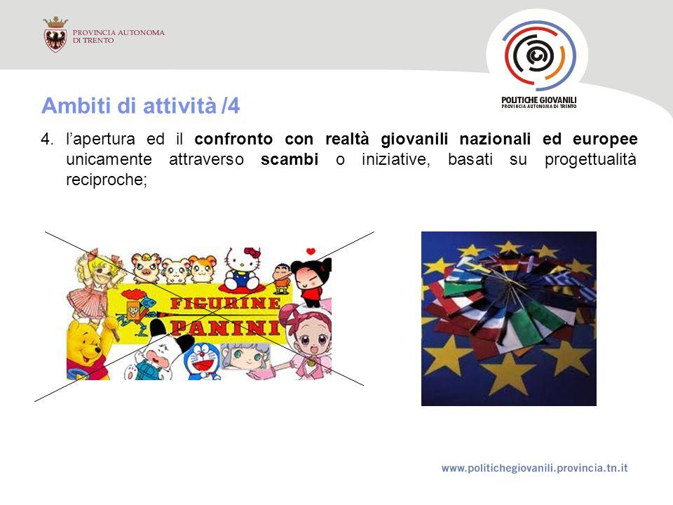 4.lapertura ed il confronto con realtà giovanili nazionali ed europee unicamente attraverso scambi o iniziative, basati su progettualità reciproche; Ambiti di attività /4