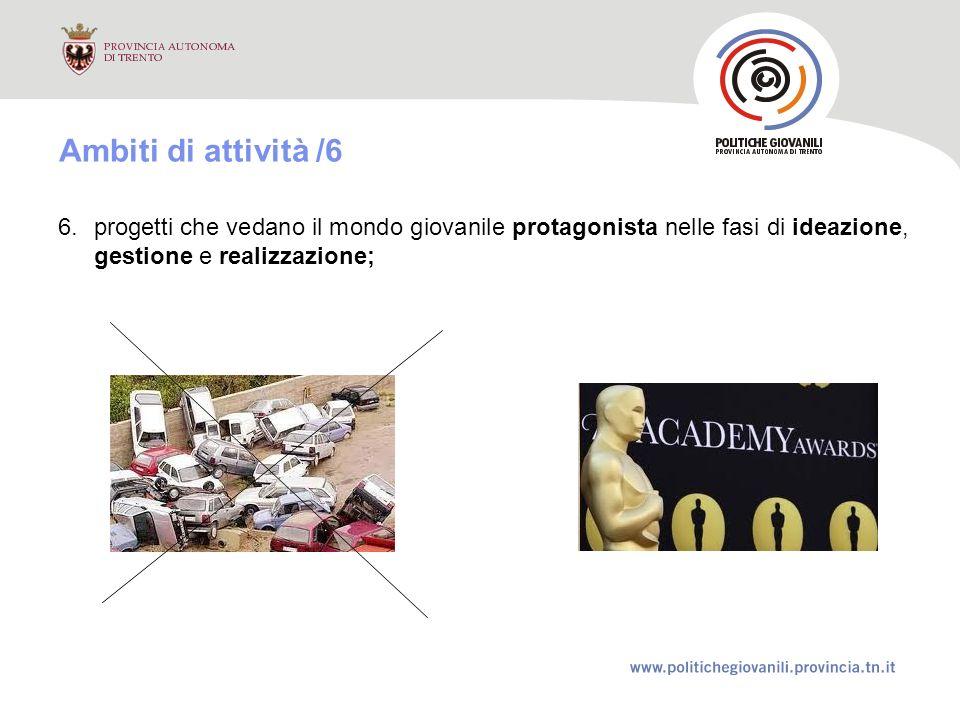 6.progetti che vedano il mondo giovanile protagonista nelle fasi di ideazione, gestione e realizzazione; Ambiti di attività /6